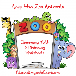 Help the Zoo Animals-Elementary Math and Matching Worksheet