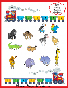 Help the Zoo Animals-Elementary Math and Matching Worksheet page1
