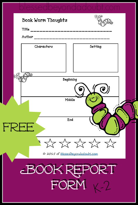 Printable Book Report Form  Printable Book Report Forms