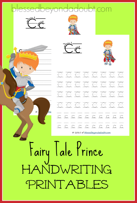 FREE fairy tale prince handwriting printables! Super FUN!