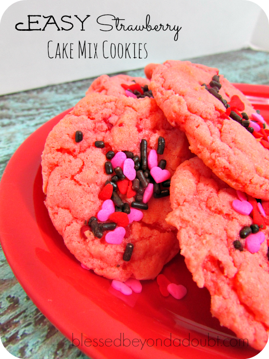 EASY Strawberry Cake Mix Cookies