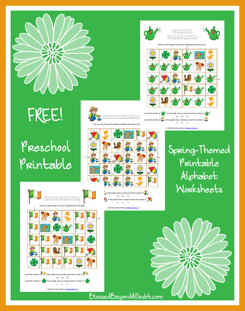 Spring-Themed Printable Alphabet Worksheets for Preschool