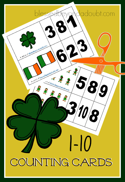 FREE St Pat's counting Cards! Your child will master the numbers 1-10.