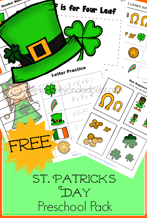 FREE St. Patrick's Day Preschool Pack! Over 20 pages of FUN!