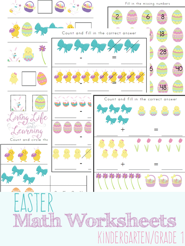 Easter Math Worksheets for Kindergarten