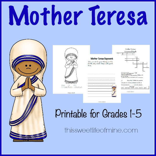 FREE Mother-Teresa-Printable Pack