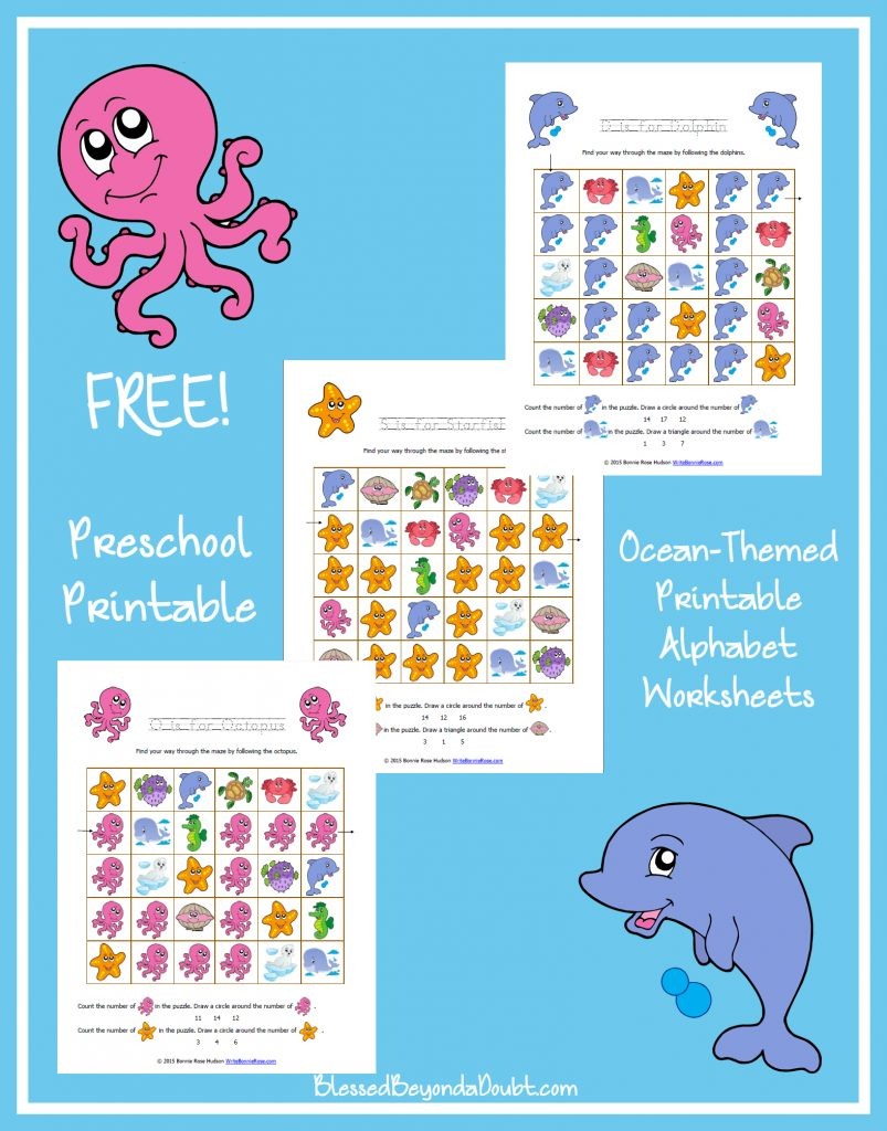 picture regarding Ocean Printable referred to as Cost-free Ocean-Themed Printable Alphabet Worksheets for