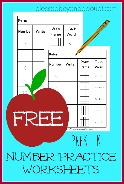 FREE number practice worksheets. They are perfect for PreK- K.