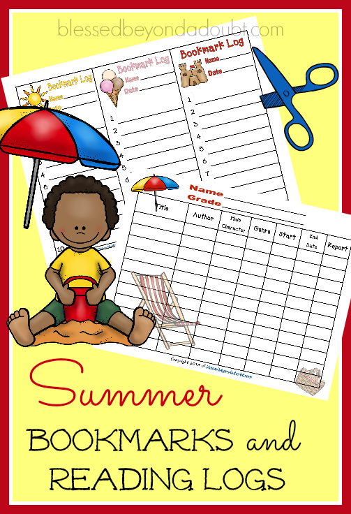 summer bookmarks and reading logs