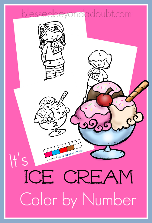 FREE Ice Cream Color by Number printables. July is national ice cream month.
