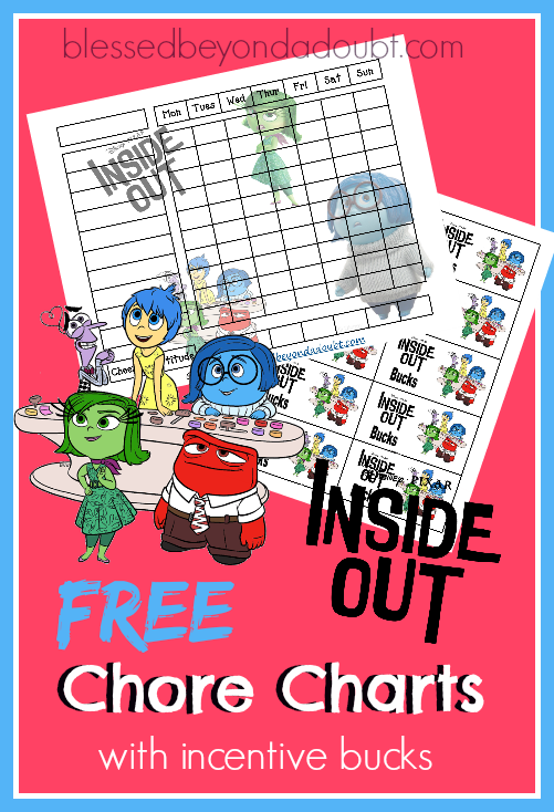 Free Inside Out Chore Charts with incentive bucks. Reward your child for a cheerful attitude.
