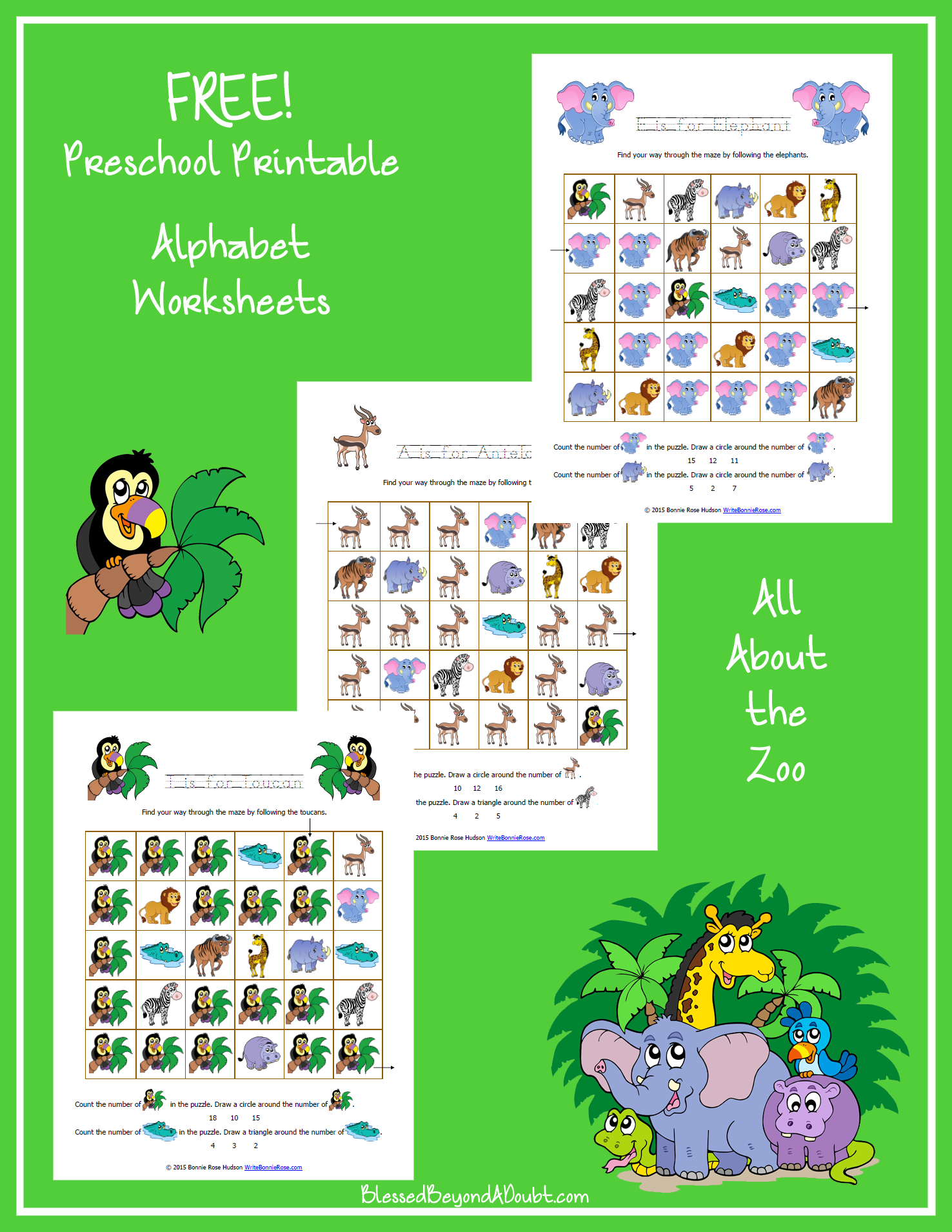 Zoo-Themed Preschool Letter Pack