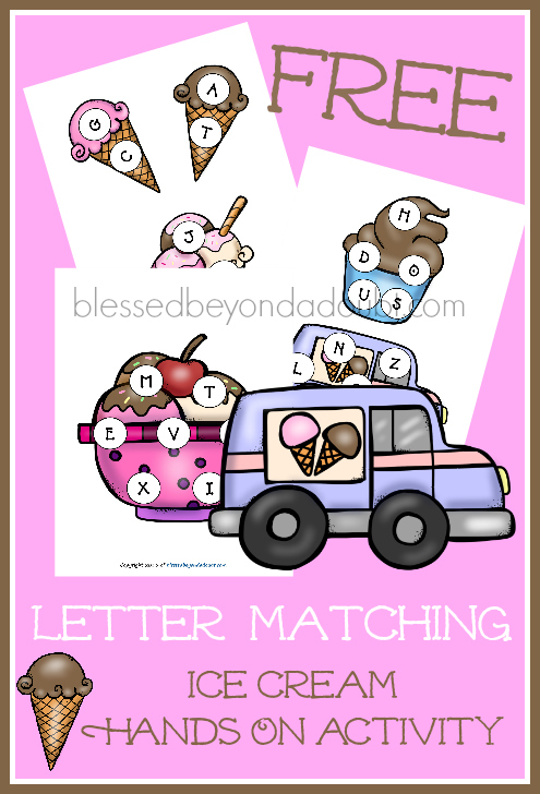 FREE abc ice cream matching game. It's a hands on approach to help with letter recognition and sounds.