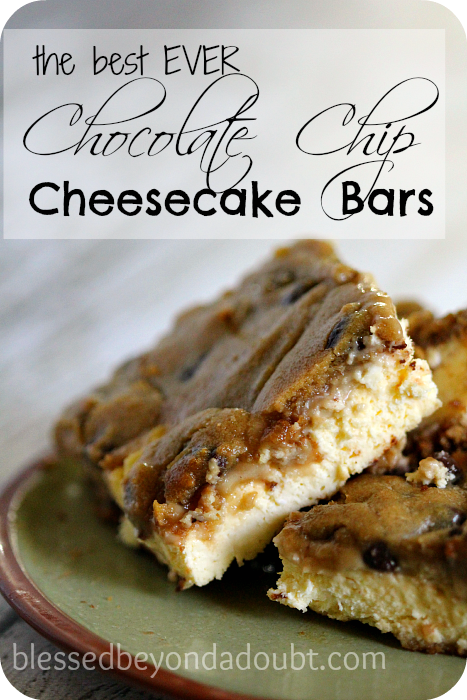 These chocolate chip cheesecake bars are so rich and creamy! You can't go wrong with these bars.