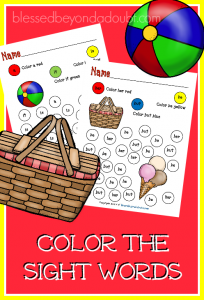 sight-words-summer-edition-204x300 Free Kindergarten Sight Word Coloring Worksheets on make color, spring color,