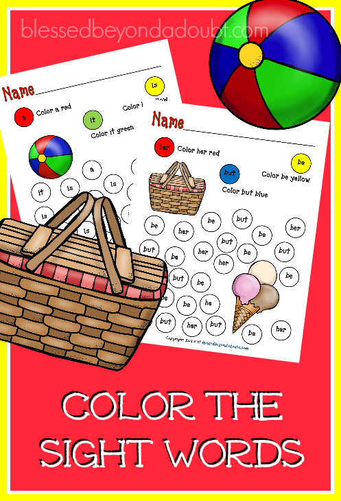 FREE Color the sight words printable pack - summer edition.  Super cute and festive for the hotter months.