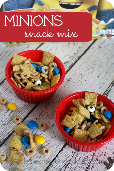 Minions snack mix! Super fun and easy! A back to school snack surprise.