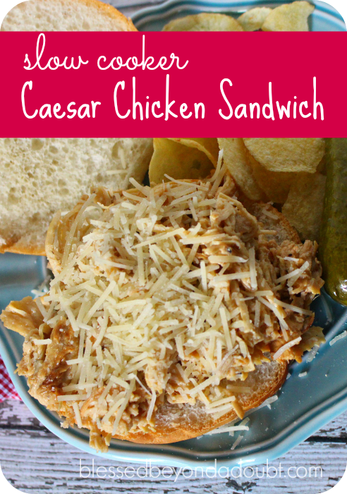 The BEST caesar chicken sandwich made in the slow cooker.
