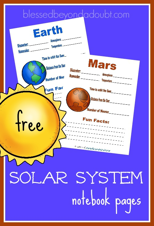 Have your child leran about the solar system with these free planet notebook pages!
