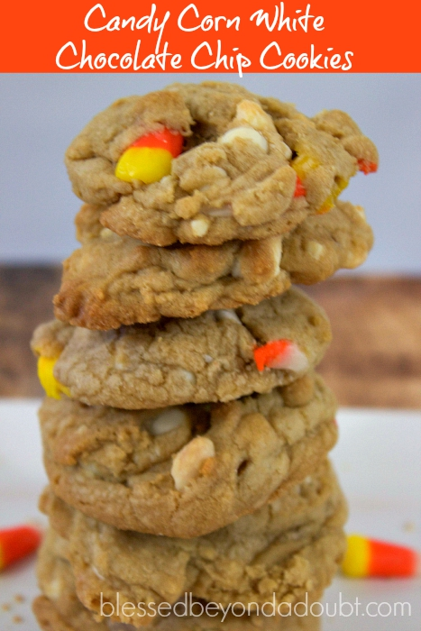 So festive Candy Corn White Chocolate Chip Cookies to die for!