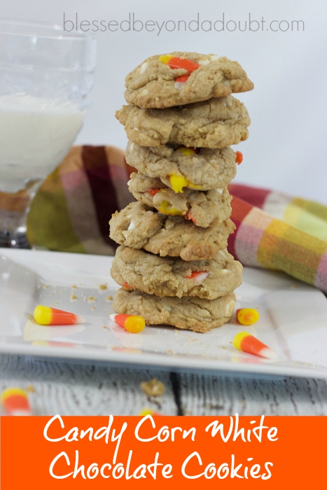 Candy Corn White Chocolate Chip Cookies are so FUN for Fall. Make them today!