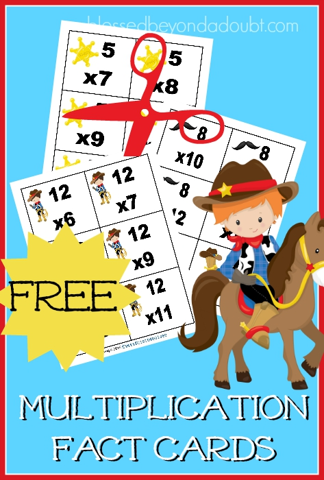 Cut these cowboy themed multiplication fact cards out for your child. They will have fun playing beat the clock with these free printables.