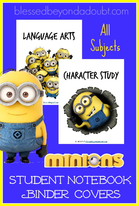 FREE Minions student binder covers. They are FREE in all subjects.