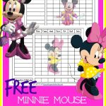 FREE Minnie Mouse Chore Chart with incentive bucks for a cheerful attitude.