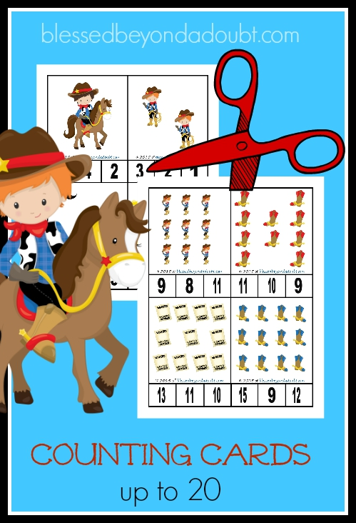 FREE cowboy counting cards printable. Your child will master 1-20 with these counting cards.