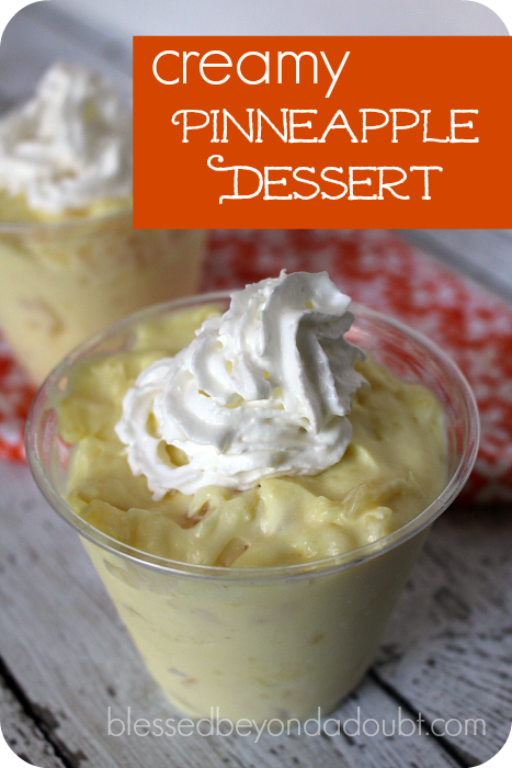 Super EASY creamy pinneapple dessert. You can whip it up in a minute.