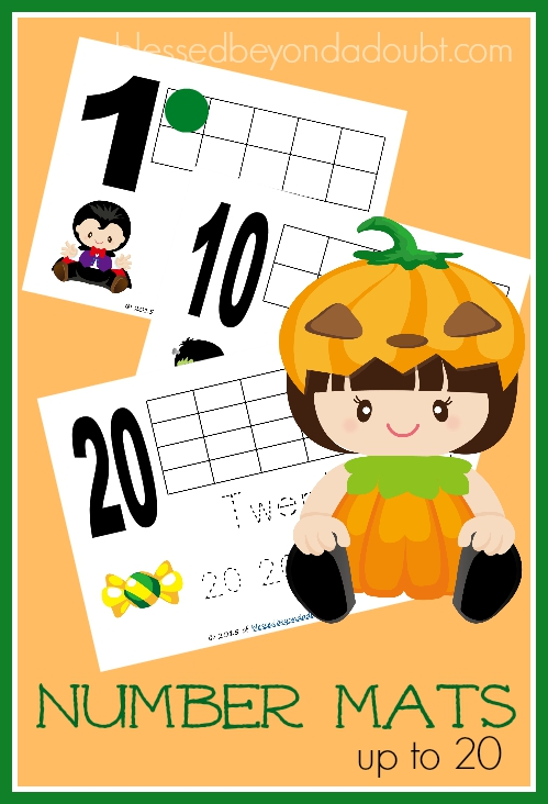 Free Halloween number mats to help number regonition and counting.