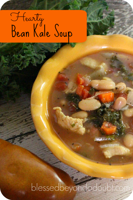 This Hearty Bean Kale Soup Recipe is hearty and so comforting on a brisk cool day. Just serve with a simple salad and bread.