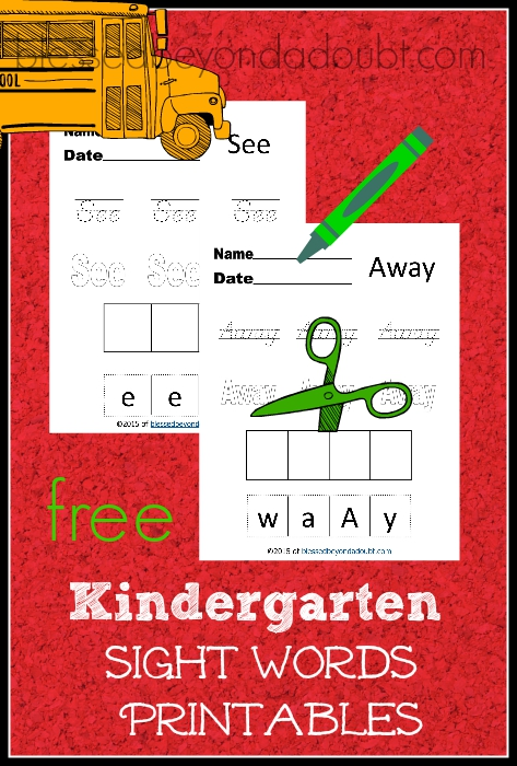 FREE Kindergarten Sight Words printables.