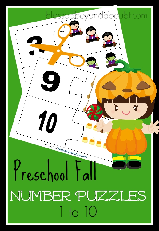 FREE Preschool Fall Number Puzzles. Print, laminate, and cut for a hands on approach to number recognition.