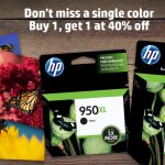 Buy one Original HP Ink, get a 2nd cartridge of equal or lesser value for 40% off!