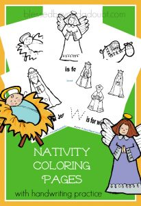 free nativity coloring pages with handwritingsuper cute