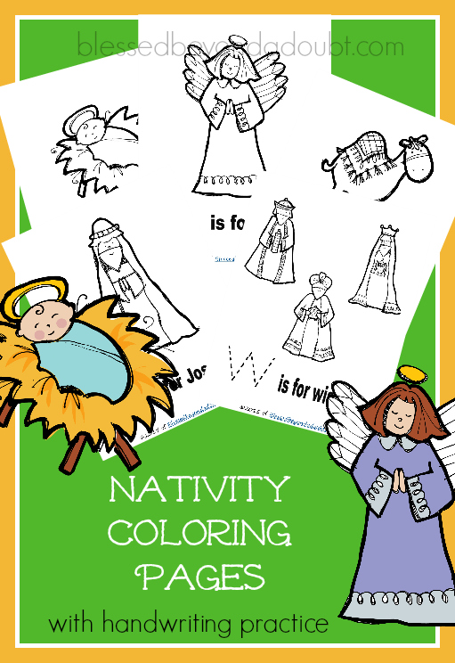 FREE Nativity Coloring Pages with handwriting pages. They help with letter recognition, too.
