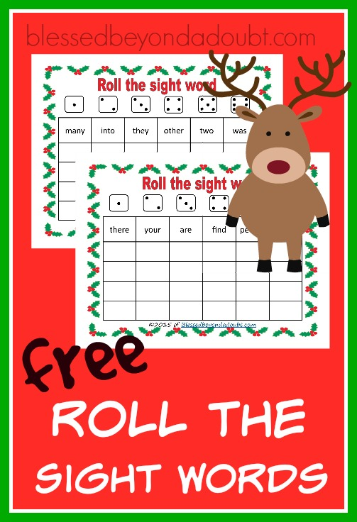 FREE Roll the Sight Word Game – Christmas Edition
