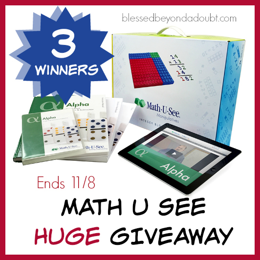 We are looking for 3 winners for this awesome MathUSee giveaway. Hurry and enter by 11/8.