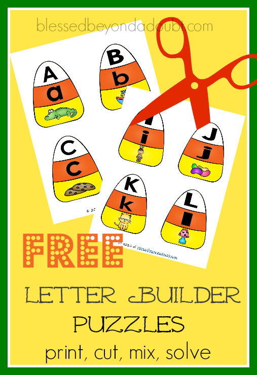 Free candy corn letter builder puzzles. Your child will have fun mastering their letters and sounds with these puzzles.