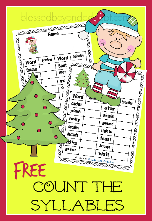 FREE Count the Syllables worksheets.