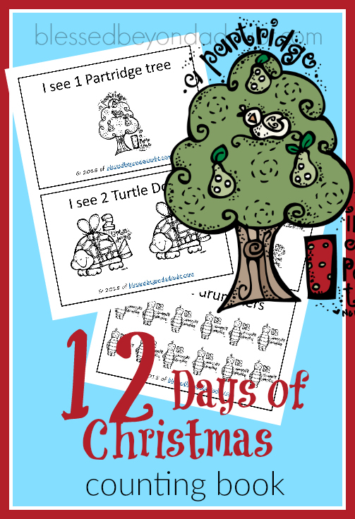 FREE Counting Book - 12 days of Christmas. Simply print, color, and staple together.