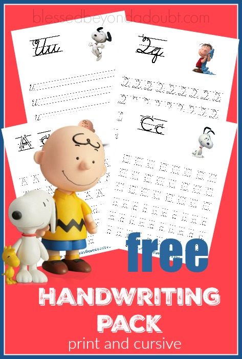 Free Peanuts Handwriting pack. Choose from either print or cursive.