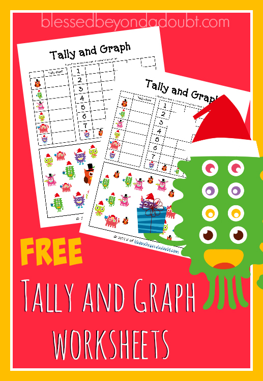FREE Tally and Graph worksheets with a festive Christmas theme.