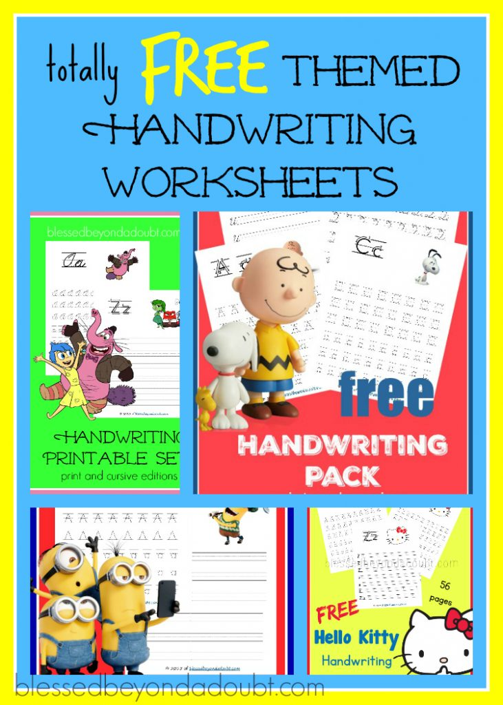 Free Printable Handwriting Worksheets - FUN Themes - Blessed Beyond A Doubt