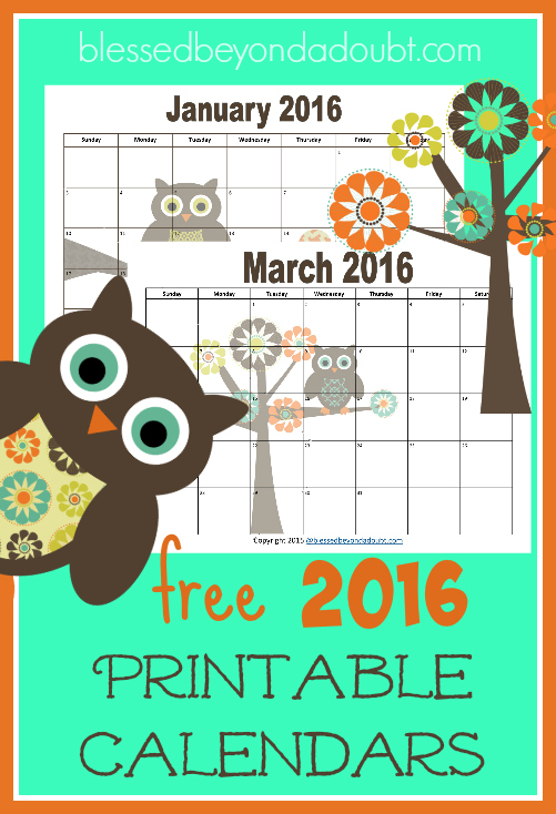 FREE printable monthly calendars for 2016!