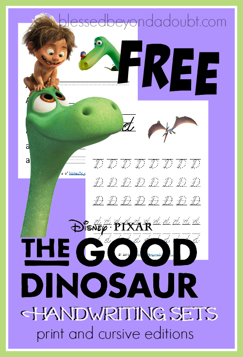 Free The Good Dinosaur Handwriting printable sets. They come in print and cursive editions.
