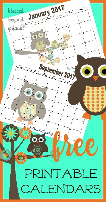 Totally free 2017 monthly printable calendars with an adorable owl theme. Back by popular demand.