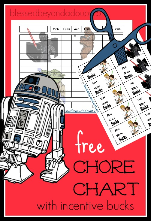FREE Star Wars Chore Chart with incentive bucks for having a cheerful attitude.