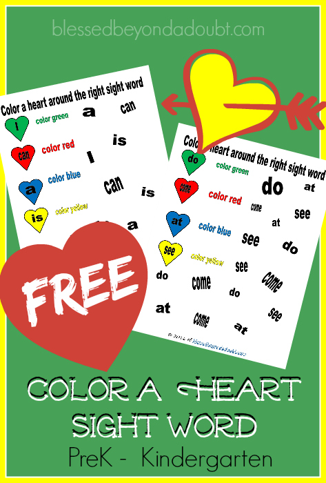 FREE Valentine Sight Word printables for PreK and K. Super FUN!